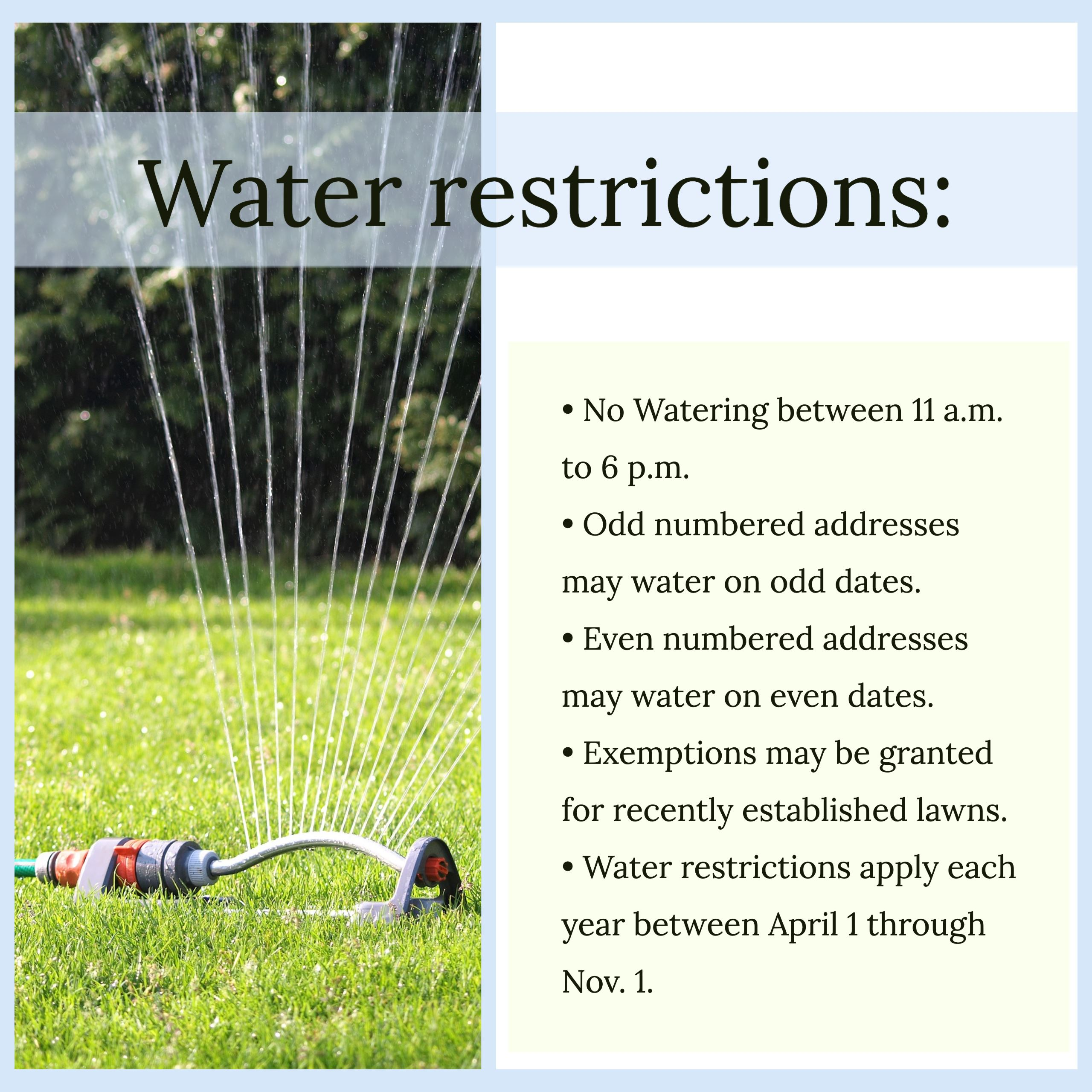 water restrictions newsflash